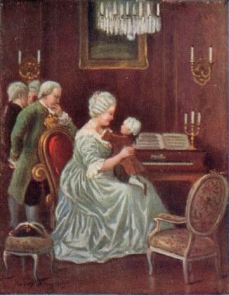 Mozart auf dem Schoss der Maria Theresia - Mozart on Maria Theresa's Lap /Col.Print - Mozart, Johann Chrysostomus Wolfgang Got