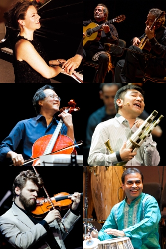 (L-R) Kathryn Stott, Sergio and Odair Assad, Yo-Yo Ma, Wu Tong, Johnny Gandelsman, Sandeep Das